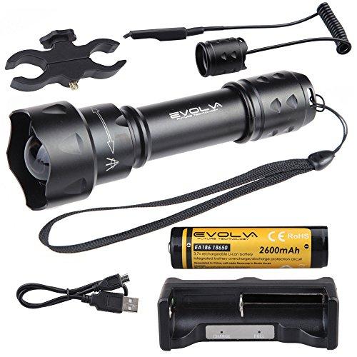 Evolva Future Technology T20 IR 38mm Objektiv Infrarot-Licht-Nachtsicht -Taschenlampe -Um mit Nachtsicht -Gerät verwendet werden (Infrarot-Licht ist unsichtbar für das menschliche Auge) (Taschenlampe + Batterie + Ladegerät + Pressure Switch + Scope Mount)