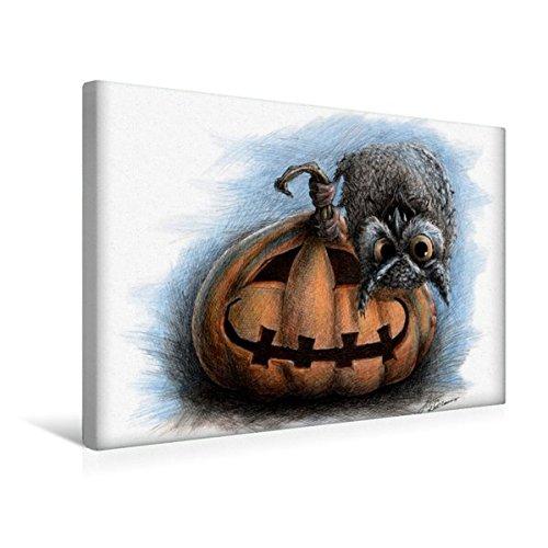 til-Leinwand 45 cm x 30 cm quer, Vampir Eule | Wandbild, Bild auf Keilrahmen, Fertigbild auf echter Leinwand, Leinwanddruck: Halloween Kunst Kunst ()