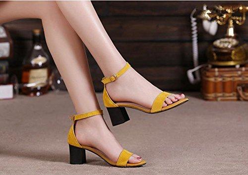 BaiLing Damen Sommer Sandalen / Chunky Ferse / Mode Scrub Damen kleine Größe Schuhe Yellow