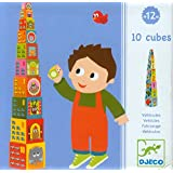 Djeco Cubes For Infants ~ 10 Vehicles Stacking Blocks