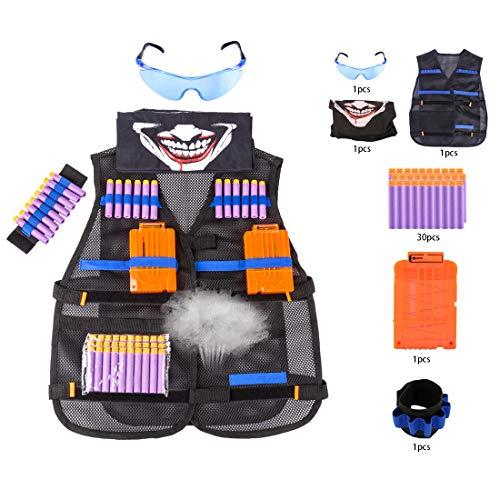 GODNECE Kinder Tactical Weste für Nerf, Klassisch Tactical Vest Kits mit 30 Darts, 2Stk.Clip Magazin, Brille,Dart Armbänded,Gesichtsmaske