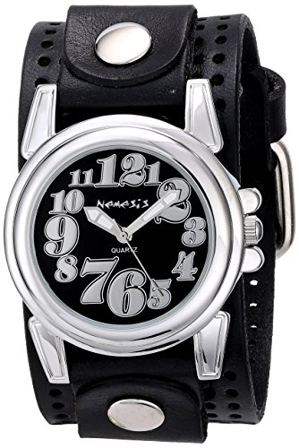 Nemesis Women's 069PLB-K Trendy Oversized Series Analog Display Japanese Quartz Black Watch