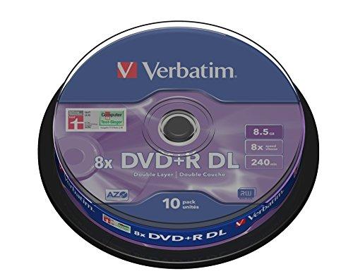 Verbatim  dvd+r  8x double layer 8,5gb, colore: argento, confezione da 10