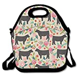 Kailey hello Show Steer Cows Farm Barn Florals Design Lunch Bag Lunch Tote Lunch Pouch Handbag Made for Women, Men and Kids