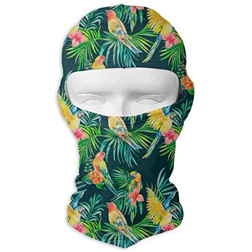 Vidmkeo Parrots Hawaiian Pattern Balaclava Face Mask Hood for Neck Gaiter Headwear Helmet Liner (Head Parrot Gear)