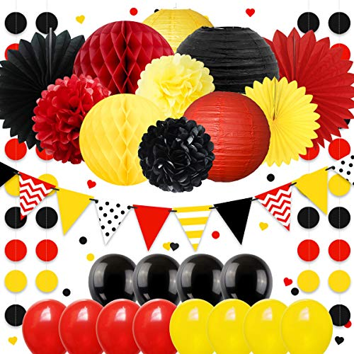 NICROLANDEE Mickey Mouse Party Dekorationen Set Waben Seidenpapier Blumen Laterne Fan Ballon Girlande Banner für Mickey unter dem Motto Baby Geburtstag Kindergarten Party Dekor Set