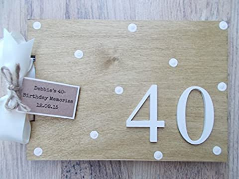 PERSONALISED 40TH BIRTHDAY WOODEN SCRAPBOOK/PHOTO BOOK