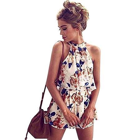 Minetom Femmes Eté Sans Manches Halter Cou Floral Imprimé Combinaisons Tops+ shorts Playsuit Jumpsuit Combishort Pantalon