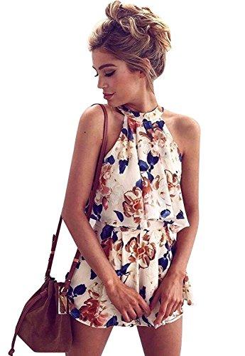 Minetom Damen 2 Stück Neckholder Ärmellos Blusen Schulterfrei Crop Tops Bluse + Kurze Hosen Weiß DE 36 (Blumen-print Pyjama Set)