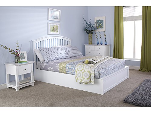 Madrid 5ft King Size Wooden Ottoman Bed - Solid White