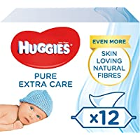 Huggies Pure Extra Care Baby Wipes, Pack of 12 x 56 sensitive baby wipes (672 Wipes) - ukpricecomparsion.eu