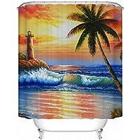 GYMNLJY 3D Beach Palma Tenda doccia in poliestere impermeabile muffa Bagno ispessito tenda ombra Semi , 4 , 200*180cm
