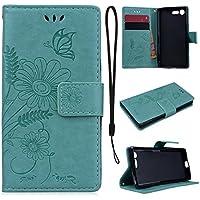 CE-Link für Sony X Compact Handyhülle Hülle Ledertasche Schutzhülle Leder Huelle mit Grün Schmetterling Blumen... preisvergleich bei billige-tabletten.eu