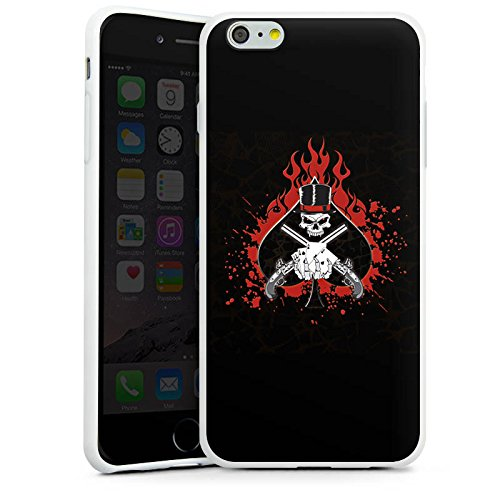 Apple iPhone X Silikon Hülle Case Schutzhülle Totenkopf Feuer Pik Silikon Case weiß