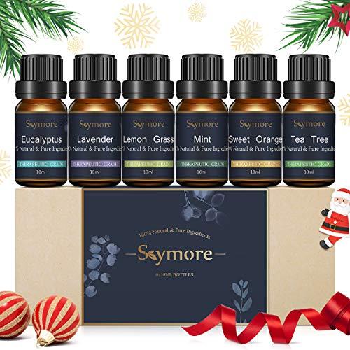 Skymore Top 6 Set di Olio Essenziale,può Usare nel Diffusore, Puri al 100% -Menta Piperita, Tea Tree,Citronella, Lavanda, Eucalipto,Arancia do