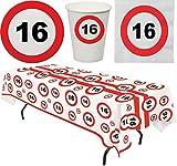 Karneval-Klamotten Party Set 33 Teile Geburtstag 16 Jahre Verkehrsschild