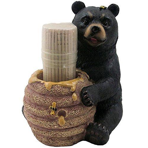 Dekorative Schwarz Bär in einer Honigglas Zahnstocher Inhaber Figur für Kabine oder Rustikal Lodge Decor Skulpturen und aus als Sammlerstück, Wildlife Animal GESCHENKE -
