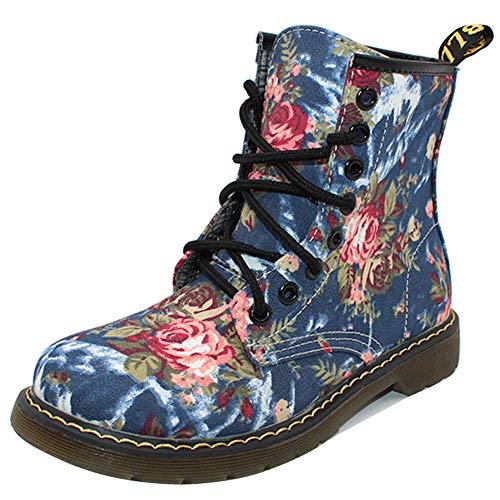 2fd215887dfc62 uirend Schuhe Damen Stiefel Stiefeletten - Retro Wadenlang Blumen Drucken  Martin Schnürschuh Schuh Kampf Knöchel Halbschuhe Flach