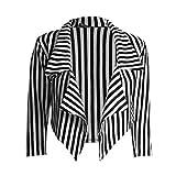 Janisramone-dames-dcontract-blanc-ray-noir-Blazer-court-manteau-de-la-veste-en-cascade