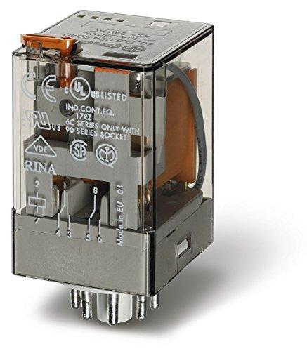 Finder 601382300040PAS - Relé a spina 3 RT 10 A 230 Vac con pulsante per prova manuale/indicatore meccanico
