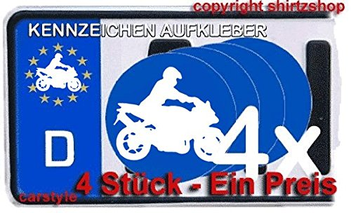 Motorrad II Motorradfahrer Biker NUMMERNSCHILD NUMMERNSCHILD Aufkleber Autoaufkleber 4er Set