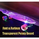 HYY@ Rueda de skate verde transparente Peny patín completo Retro Cruiser Mini Longboard Skate pescado largo tablero Pnny tablero 22 , Red