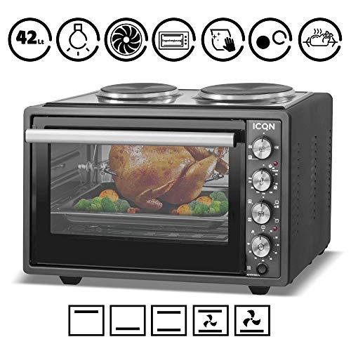 ICQN 42 Liter Mini-Backofen mit 2 Kochplatten und Umluft | Innenbeleuchtung | Pizza-Ofen | Doppelverglasung | Gitterrost | Timer Funktion | Emailliert