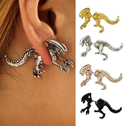 1Paar Dinosaurier Ohrring Skelett Mode und Individualität Ohr Tragus Piercing Body, Damen, g, 4.3 * 2.5cm ()