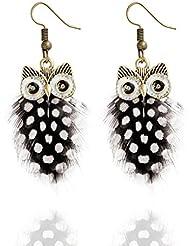 LUFA Multi-couche Colour Peacock Feather Owl Shape Fishhook Drop Earrings For Women