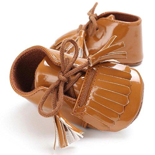 BZLine® Baby Quaste Soft Sohle Leder Schuhe Kleinkind Krippe prewalker Schuhe Braun