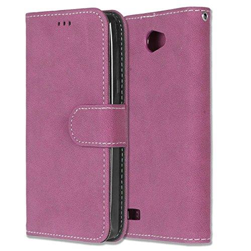 Chreey LG Bello II/Bello 2 Hülle, Matt Leder Tasche Retro Handyhülle Magnet Flip Case mit Kartenfach Geldbörse Schutzhülle Etui [Rose Rot]