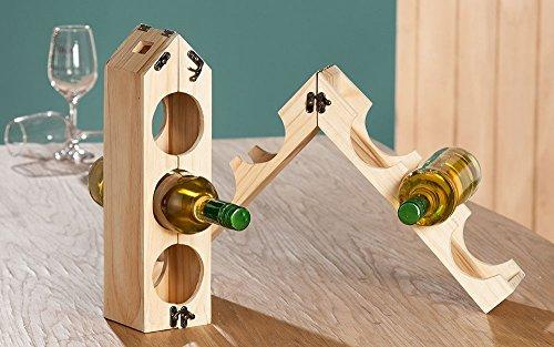 Flaschenhalter Weinflaschenhalter aus unbehandeltem Holz, für 3-6 Flaschen, Halter,Regal