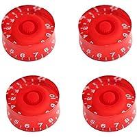 Sharplace 4 Piezas Botones Perillas con Números Accesorio de Guitarra Bajo Eléctrico Control Tono Volumen DIY - Roja y Blanca