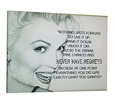 Blinged Up Marilyn Monroe quote, Framed canvas wall plaque