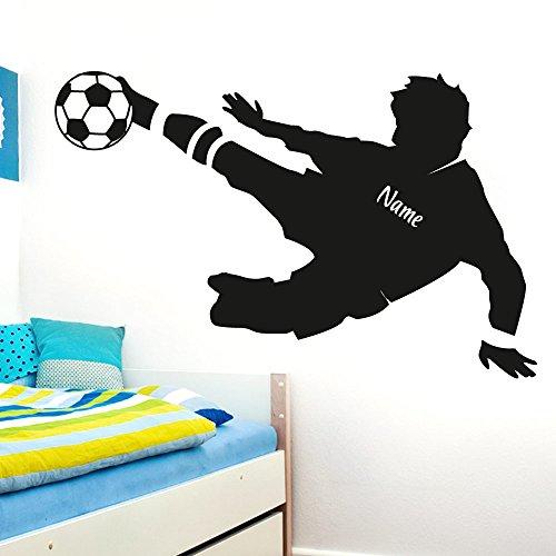 Wandaro Wandtattoo Fußballspieler Wunschname I Gold (BxH) 91 x 58 cm I Fußball Aufkleber Ball Kinderzimmer Wandaufkleber Junge Wandsticker Sticker E038
