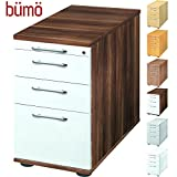 Bümö Bürocontainer mit 4 Schüben & Schloss   Standcontainer mit Hängeregistratur aus Holz abschließbar   Container für Büro   Tischcontainer in 5 Dekoren (Zwetschge/Weiß)