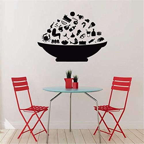 Mode Schüssel Mit Essen Wandaufkleber Küche Wanddekor Esszimmer Tapeten Kreative Selbstklebende Tapete Küche Aufkleber kaffee 86x120 cm