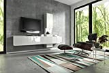 Wuun  Wohnwand Muro in Weiß– Weiß Hochglanz/Verschiedene Farben/Beleuchtung Optional/Schrankwand Anbauwand TV-Board, RGB LED-Beleuchtung