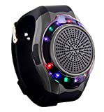 Joyeer Smart Watch Speaker Dazzle Light con Seven Colors Telecamera remota Subwoofer stereo stereo FM Radio Music TF Card Playing Hands-Free Call Anti-Lost Allarme Sport Watch , black