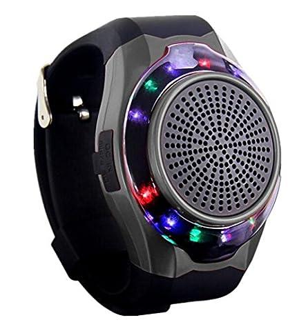Joyeer Smart Watch Lautsprecher Blenden Licht mit sieben Farben Remote Kamera Wireless Stereo Subwoofer FM Radio Musik TF Karte Spielen Hands-free Call Anti-verloren Alarm Sport Watch , black