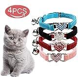 DAIXI Collare del Gatto, Gatto collari con Campana e Bling Fascino del Cuore di Forniture per Animali Carino (Nero + Rosso + Rosa + Blu)