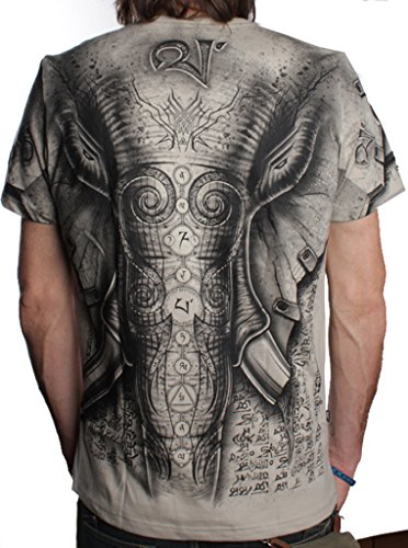 Camiseta Elefante - Ropa de diseño con animales y símbolos 100% algodón manga corta para hombre - Talla L, Arena claro