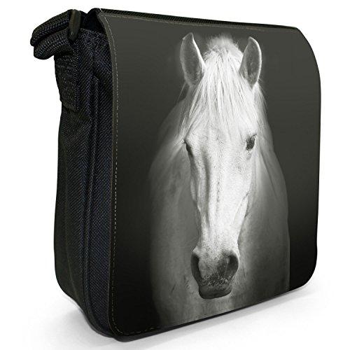 Superb Stunning Stallone Cavallo Bianco Piccolo Nero Tela Borsa a tracolla, taglia S Majestic White Horse Portrait