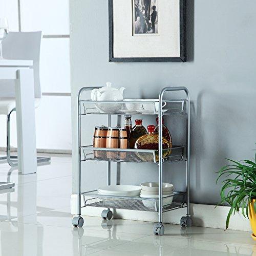 Homfa estanterias metalicas carrito cocina 3 bandejas de for Carrito de cocina con ruedas