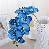 EMVANV Beautiful Flower Dekorationen DIY Wohnzimmer Künstliche Schmetterling Orchidee Seide Blume, blau, Free Size