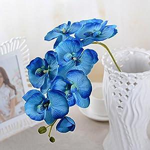 EMVANV Hermosas decoraciones de flores para sala de estar, orquídeas artificiales, flores de seda (azul)