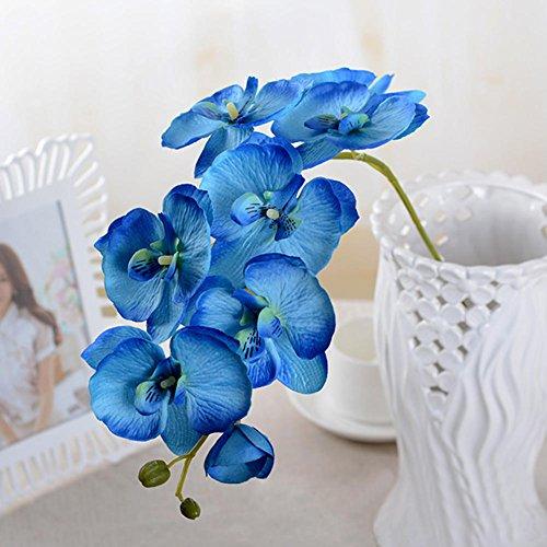 Woopower künstliche Blume, 1Stück, künstliche Schmetterling Orchidee DIY-Blume für Wohnzimmer, Kunst-Dekoration Blumenstrauß Hochzeit Heimdekoration, blau, Free Size