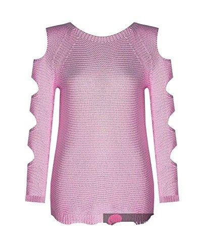 Comfiestyle -  Maglione  - Felpa - Maniche lunghe  - Donna Baby Pink taglia unica-40-46)
