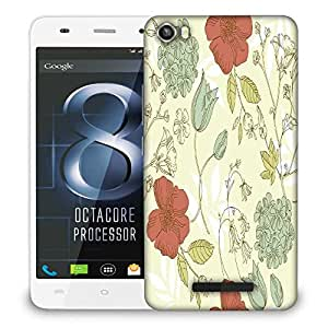 Snoogg Red Floral Cream Designer Protective Phone Back Case Cover For Lava Iris X8