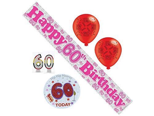 60th Birthday Pink Party Pack Banner, Balloons, Confetti, Number Candles, Mega Badge by Regent